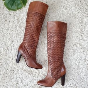 Supertrash Woven Leather Tall Boots